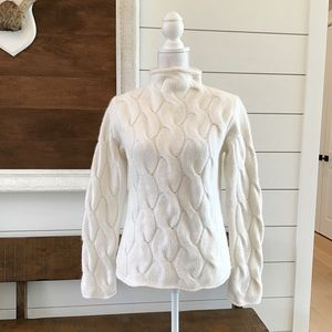 Cream cowl neck chunky cable knit sweater A6